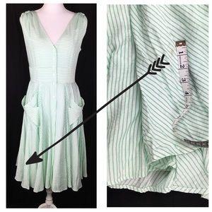 165bc72f0f9 Calvin Klein Dresses - Calvin Klein Green & White Striped Midi Dress